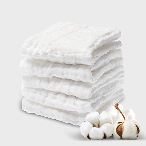 NKKFREY Baby Muslin Washcloths(12x12 inches,5 Pack)- Chemical Free Baby Wipes- Soft Newborn Baby Face Towel for Sensitive Skin- Baby Registry as Shower Gift.