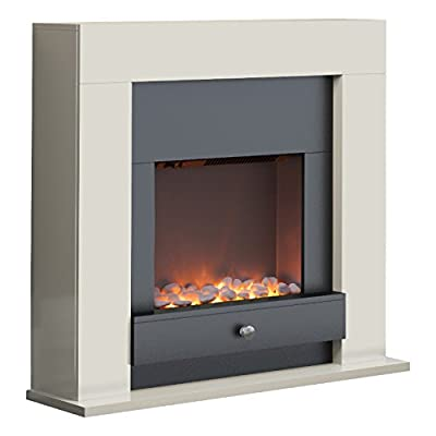 Warmlite Chichester Fireplace Suite, Realistic LED Flame Effect, Ivory