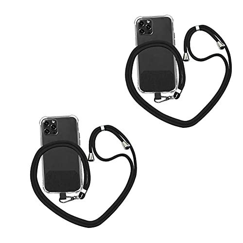 2 Stück Universal Crossbody Nylon Patch Phone Lanyards, Handy Strap Lanyard, Universal Handy Lanyard Mit Verstellbarem Nylon Umhängeband, Abnehmbarer Handy Sicherheitsgurt (Schwarz)