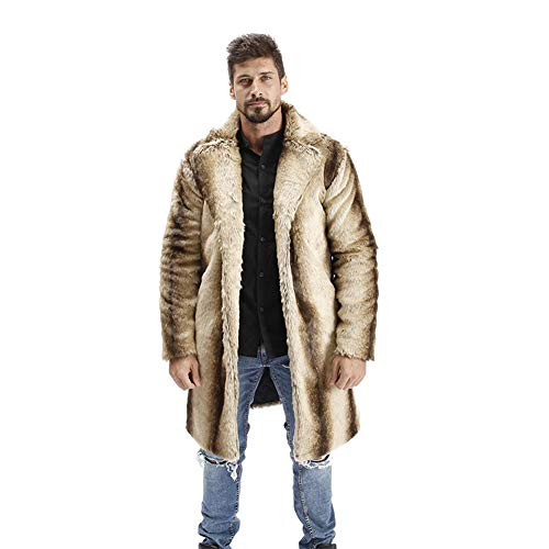 Abrigo de Pelo Hombre Chaqueta Invierno Cálido Chaqueta de Piel Sintética Abrigo de Piel Sintética Largas Abrigo Invierno Caqui XL