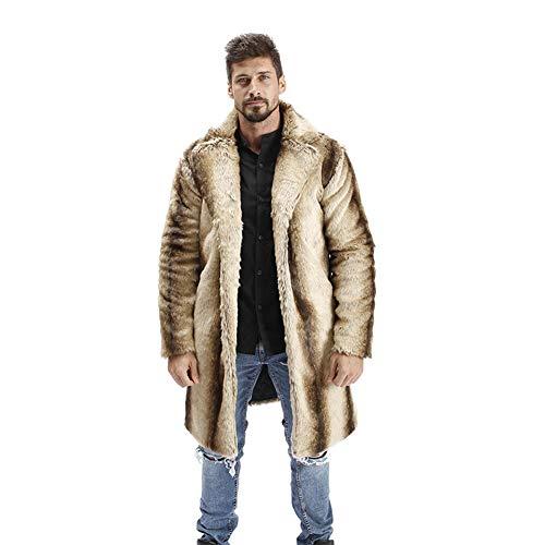 WANPUL Pelzmantel Herren Winterjacke Warme Kunstpelz Mantel Verdicken Felljacke Lange Jacke Faux Fur Pelzjacke Fellmantel Khaki 4XL