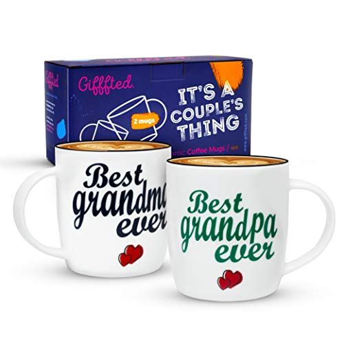 Triple Gifffted Grandparents Mugs, Best Ever Grandma and Grandpa/Grandad Coffee Mugs - Gifts From Grandson, Granddaughter, Grandkids, Gift For Father's Day, Christmas, 2 Set Cups V1