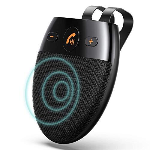 AGPTEK Vivavoce Bluetooth 5.0 da Auto Chiamata Vocale, Bluetooth Kit per Veicoli con Siri Assistente Comandi Vocali di Google Altoparlante Kit per Aletta Parasole (Nero)