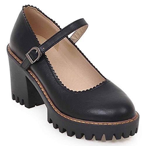 HSNA Mary Jane Shoes Mujer Tacones Altos Ancho Plataforma Zapatos de Tacón Medio Niña con Hebilla(Negro 39 EU)