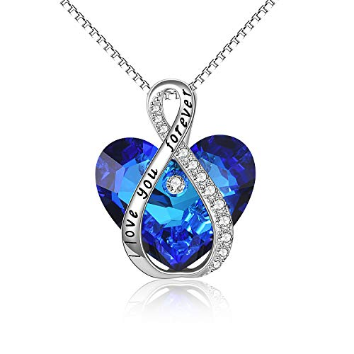 Women Necklace Sterling Silver I Love You Forever Heart Pendant Necklace...