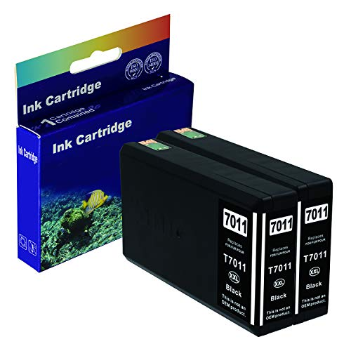 D&C Cartucce compatibili per Epson T7011-T7014 per WorkForce Pro WP-4015DN,WP- 4025DW,WP-4095DN,WP4515DN,WP-4525DNF,WP-4535 DWF,WP4545DTWF con chip 2x 15ml Black