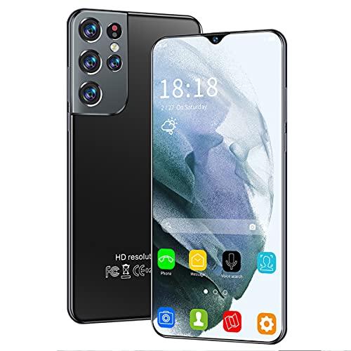 ZHKXBG S21 + Ultra Pantalla HD de 6.7 Pulgadas Teléfono Inteligente con Memoria Grande 16 + 512GB SIM Tarjetas de reconocimiento Facial con batería de 6500mAh,Negro