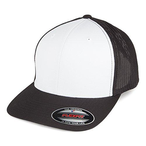 Village Hats Casquette Trucker White Front Noir-Blanc Flexfit - Taille Unique