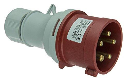 CEE Stecker SHARK 5-polig, 400V / 32A, Quick Connect, Anbaustecker, Gerätestecker, Drehstromstecker, IP44, 6h