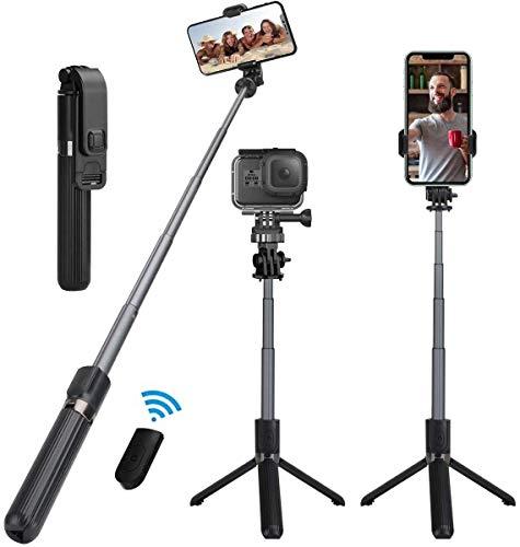 KKUYI Selfie Stick Stativ, 3 in 1 Bluetooth Selfiestick, Monopod Selfie-Stange Stab 360°Rotation mit Bluetooth-Fernauslöse für iPhone Samsung Huawei Android(4-6.5 Zoll)/S9 Action Kamera (Schwarz)