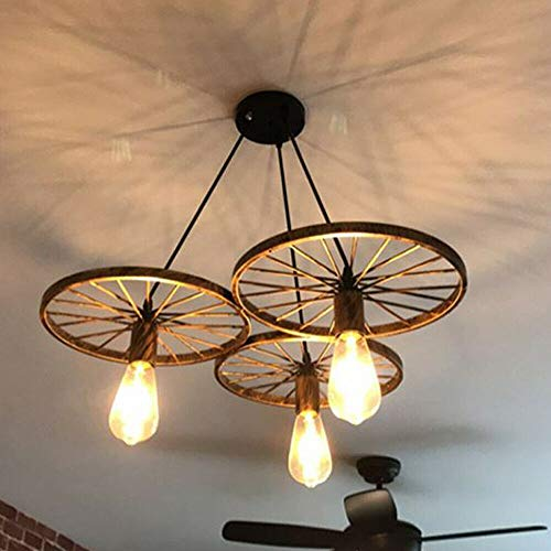 3/6 ruedas de metal, lámpara de techo vintage, lámpara colgante E27, lámpara de techo retro industrial lámpara de hierro loft, lámpara de techo de hierro lámpara de salón (3 cabezales, bronce)
