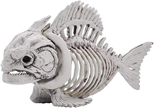 """Halloween Decoration 2 PCs 9.5"""" Pose-N-Stay Fish Skeleton Plastic Bones with Posable Joints for Pose Skeleton Prop Indoor / Outdoor Spooky Scene Party Favors Décor."""