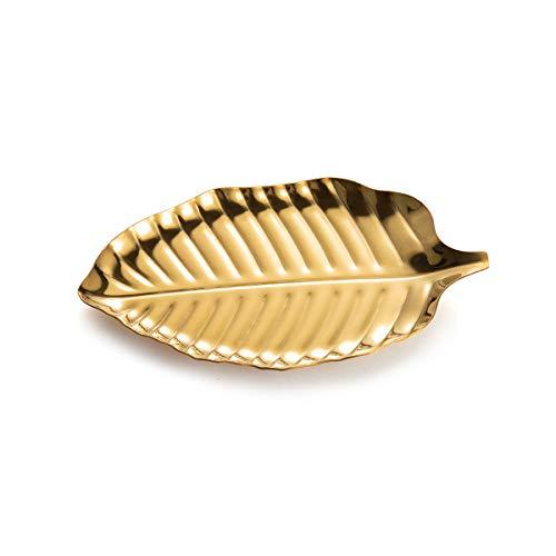 IMEEA Kosmetiktablett Schmuck Tablett Ring Dish Ablage Blattförmiger Schmuckstück Organizer Schale Edelstahl Vanity Tray (Golden)