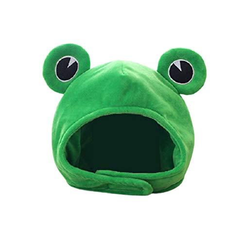 WFGF Bonito sombrero de rana de felpa, bufanda, gorro, orejas, gorro de esquí de invierno, tocado completo, novedad, vestido de fiesta, disfraz de cosplay, verde para niños, bebé, fiesta de na