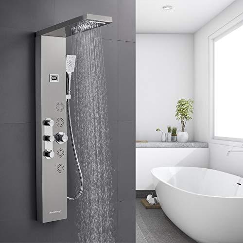 BONADE Duschpaneel mit Thermostat Duschsystem mit LCD Temperaturanzeige Paneel aus gebürstetem Edelstahl 304 Duscharmatur Armatur inkl. Massagedüsen Regendusche Handbrause und Wasserfall Wannenfüller