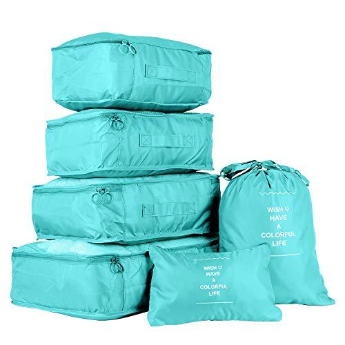 6 en 1 Set de Organizador de Equipaje Viaje con Bolsa de Zapato,Impermeable Organizador de Maleta Bolsa para Ropa Sucia de Viaje, Material Nylon