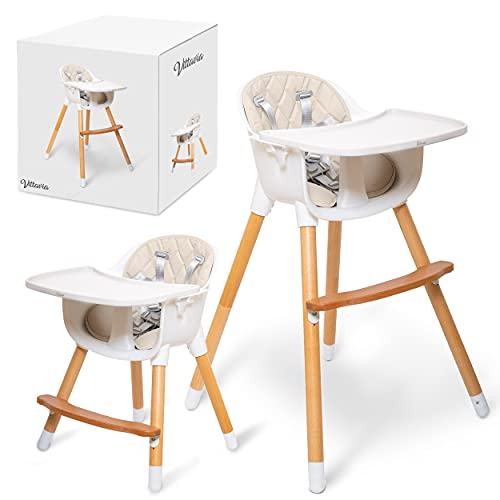 VITTAVIA High Baby Chair for Babies and Toddlers | 3 in 1 Modern Convertible High Chair with Removable Tray and Wipeable Cushion | Wooden High Chair with Adjustable Legs and Foot Rest - Cream Color