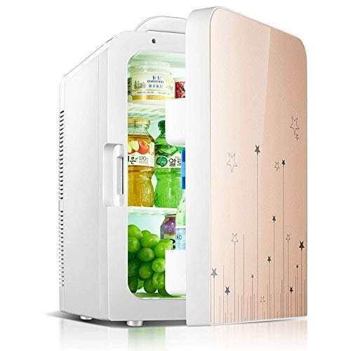 ZJHDX Mini-koelkast, dubbele deur, met vriesvak, voor slaapkamer, kantoor of woonhuis, met verstelbare glazen planken, compacte koelkast B