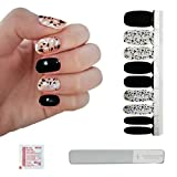 This Season's Colors | Nail Art Design Polish Strips based on Fashion Reports w/ Reusable Glass Crystal File | Salon Quality Nail Supplies | Manicure & Pedicures For Women, Kids, & Teens (Black & Silver Crystal Confetti)