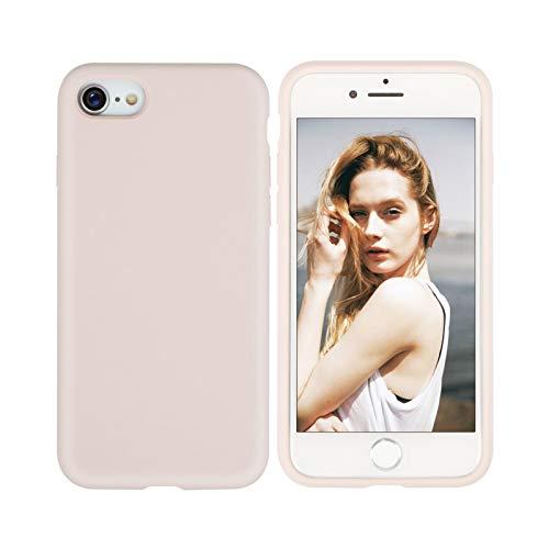 Nupcknn Funda para iPhone SE 2020 / iPhone 8 /iPhone 7, Cáscara Suave de Silicona TPU Líquida Funda Forro de Microfibra Suave Cojín(Oro Rosa)