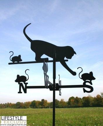 SvenskaV Wetterfahne Katze und Maus klein in schwarz