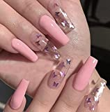 Best Press On Nails - Evazen Coffin Glossy Press on Nails Butterfly False Review