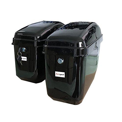 Alforjas rigidas para Moto Custom de 25 litros de Capacidad. Color en Negro Brillo. Viene con Todo lo Necesario para su instalación.
