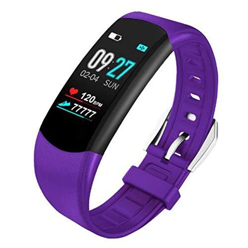 Pulsómetro Pulsera Deportiva, 0.96 Inch Reloj Inteligente IP67 con Notificación de Llamada Monitoreo del Sueño, para Hombre Mujer Niño, Pulsera de Fitness,Púrpura