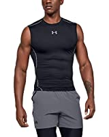 Under Armour Men's HeatGear Armour Sleeveless Compression T-Shirt , Black (001)/Steel , Medium