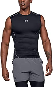 Under Armour UA HeatGear ARMOUR Sleeveless, Camiseta Sin Mangas Hombre, Negro (Black/Steel 001), M