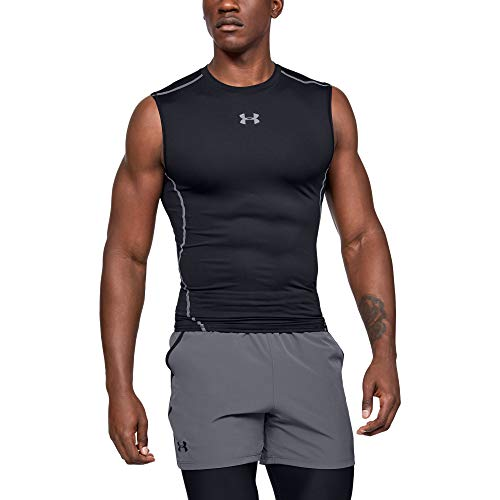 Under Armour Men's HeatGear Armour Sleeveless Compression T-Shirt, Black (001)/Steel, Large