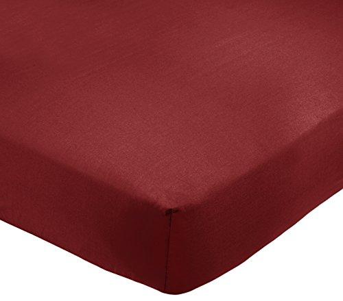 Amazon Basics AB 200TC Poly Cotton, Combinación de algodón, Burdeos, 160 x 200 x 30 cm