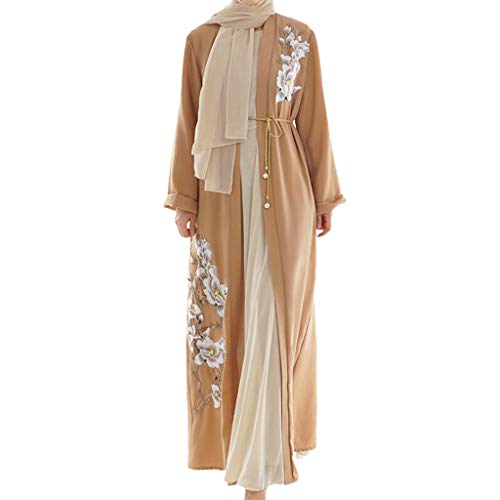 Lazzboy Vintage Women Abaya Long Maxi DRE Arab Jilbab Muslim Robe Islamic Kaftan Muslim Kleider, Damen Lange Arabische Muslimische Islamischer Dubai Kleidung(Orange,M)