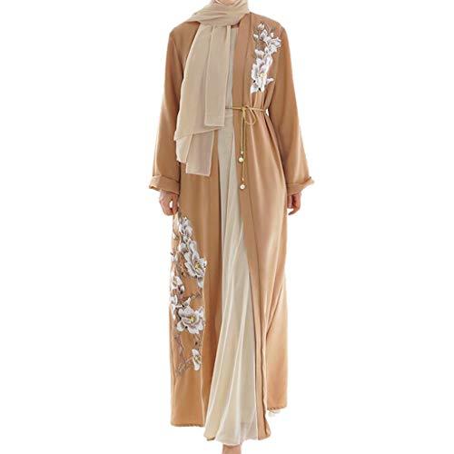 Lazzboy Vintage Women Abaya Long Maxi DRE Arab Jilbab Muslim Robe Islamic Kaftan Muslim Kleider, Damen Lange Arabische Muslimische Islamischer Dubai Kleidung(Orange,L)
