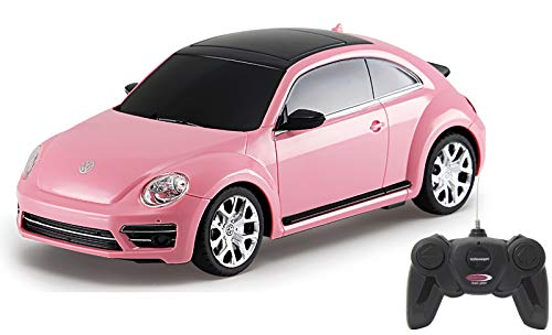 Jamara 405160 - VW Beetle 1:24 Pink 27MHz - RC Auto, offiziell lizenziert, ca 1 Std fahren, 7 Km/h, perfekt nachgebildete Details, detaillierter Innenraum, hochwertige Verarbeitung