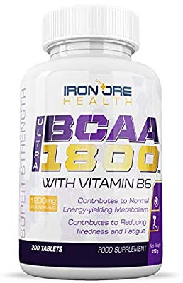 BCAA Ultra 1800 | Extra Strength 1800mg Branch Chain Amino Acid Post Workout Supplement | 200 Tabs | Made in The UK by Iron Ore Health by Mayfair Nutrition