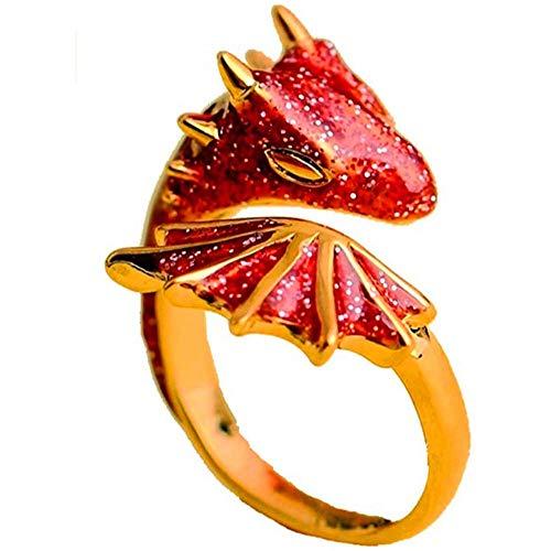 Anillo de dragón de topacio dorado 2021 con dedo de la suerte para mascotas calientes, anillos de dragón ajustables abiertos con flechas de cola del diablo, brillante esmaltado rojo