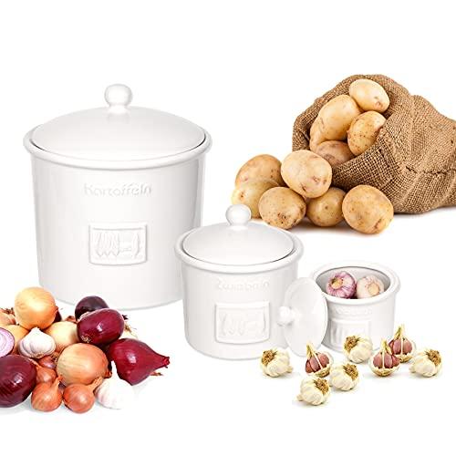 BigDean 3er Set Toskana aus Kartoffeltopf, Knoblauchtopf & Zwiebeltopf Steingut Weiß Vorratsdosen Vorratsbehälter mit Belüftung