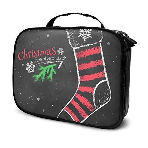 Sacs à cosmétiques pour les femmes de voyage, dessin à la craie de couleur rouge et blanche de chaussette de Noël à rayures sur un étui à crayons noir