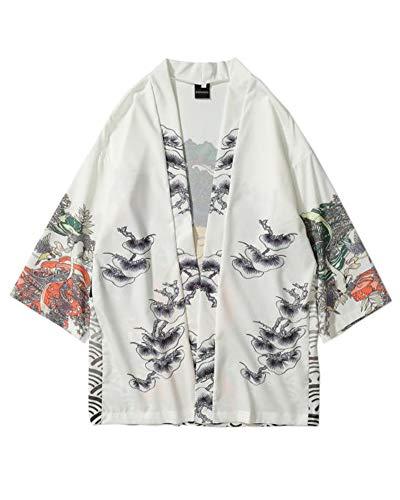 Chaqueta De Haori De Japón para Hombre Kimono Manga 3/4 Casual Estampado Blanco M