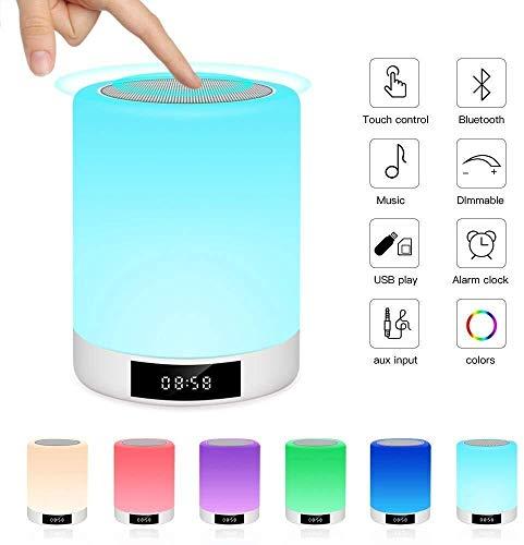 Exquis Haut-parleur portable Bluetooth Veilleuse Haut-parleur Bluetooth, capteur tactile Lampes de chevet, réveil Lumière, Couleur Changement Dimmable Lampe de table, Alarme Horloge numérique Veilleus