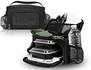 ISOMINI 2 Meal Prep Bag Insulated Lunch Cooler With 4 Meal Prep Containers, Ice Pack and Shoulder Strap - MADE IN USA (Bla...