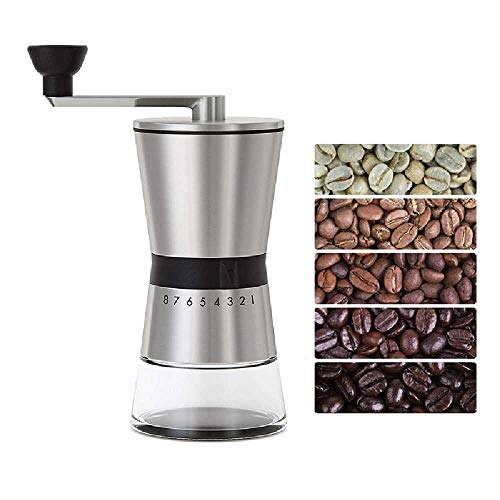 Burr Coffee Grinder, CASIZ Because Hand Ground Coffee Beans Taste Best, Infinitely Adjustable Grind, Glass Jar, Stainless Steel for Espresso, Aeropress, Drip Coffee, French Press, Turkish Brew