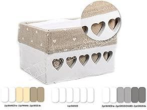 Bianco Idea Regalo R.P 6 Asciugamani Viso cm 30x30 con cassettina in Legno Set Spugna Lavette Boxes Shabby Country Chic