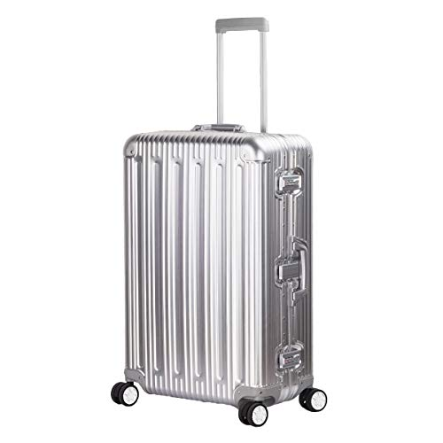 TRAVELKING All Aluminum Suitcase Hard Shell Luggage Case Carry On Spinner Matel Suitcase (Silver, 24 Inch)