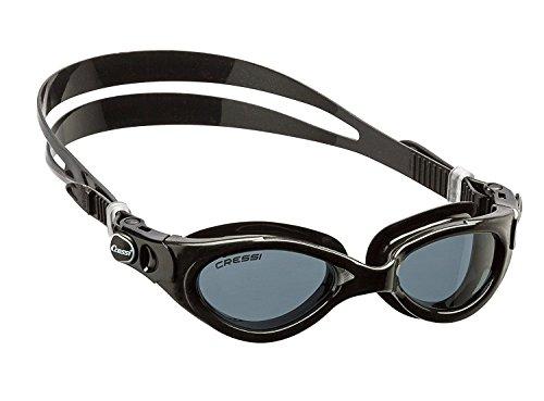 Cressi Flash - Premium Erwachsene Schwimmbrille Antibeschlag und 100% UV Schutz, Schwarz/Schwarz - Geräucherte Linsen, One Size