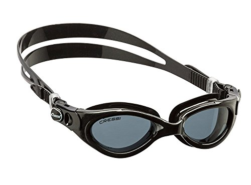 Cressi Flash Swim Goggles Gafas de Natación Premium para Adultos 100% Anti UV, Negro, Talla Única