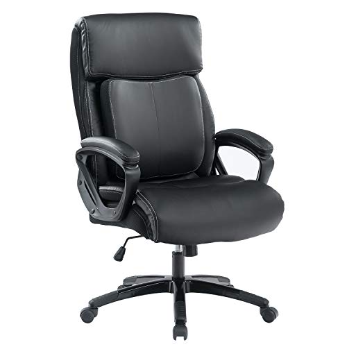 BOSMILLER Office Chair High Back Computer Chair Ergonomic Desk Chair, PU Leather Adjustable Height Modern Executive Swivel Task Chair with Padded Armrests and Lumbar Support,Black(9080-BLACK)