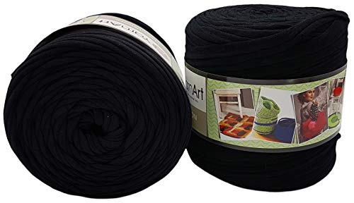 Ilkadim 2 Stück Ballen Textilgarn YarnArt Maccheroni (ca. 1300 Gramm),T-Shirt Garn, 2 x ca. 130m Lauflänge, Stoffgarn, Auswahl (schwarz)