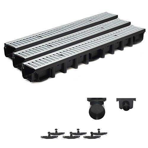 3m Entwässerungsrinne Terrassenrinne Stahlrost verzinkt komplett SET, System A15 98mm
